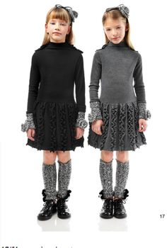 girl's sweater dress, grey and black,