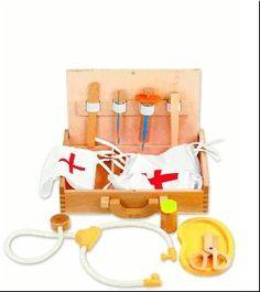 Houten dokters koffer