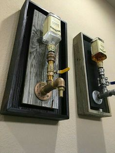 Brass Wall Mount Liquor Dispenser Handmade dispenser With ALL BRASS leadfree fittings, Backing finish out of weathered gray Reclaimed wood with Black Also offered in Black display with White inner All come with multi colored LED lights to match - d Alcohol Dispenser, Wine Dispenser, Diy Casa, Man Caves, Bars For Home, Home Projects, Diy Furniture, Automotive Furniture, Furniture Logo