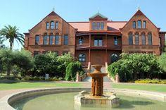 Arizona State University Tempe Campus Architecture, USA- Old Main/ waterfountain near University Drive/ ASU bridge.