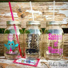 New Mason Jar Tumblers by Pickin Daisies!!! Find them at https://www.PickinDaisiesLove.etsy.com https://www.facebook.com/PickinDaisies