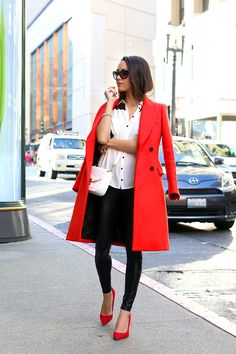 Zara coat, Ro and De shirt, Similar fake leather leggings, Zara bag, Ivanka Trump suede heels, Prada sunglasses.