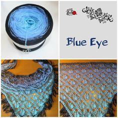 """Tuch aus Farbverlaufsgarn """"Blue Eye"""" von 500 m bis 1500 m Lauflänge, 3 bis 5fädig ab 6,90 € unter www.garnstube.de"""