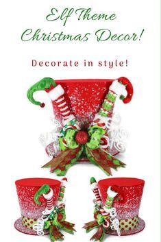 Elf Christmas Tree, Grinch Christmas Decorations, Magical Christmas, Christmas Tree Toppers, Christmas Colors, Handmade Christmas, Christmas Time, Christmas Ornaments, Snowman Crafts