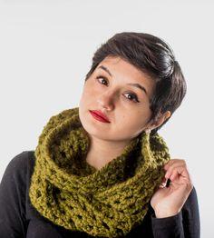 Cilantro Green Crochet Infinity Scarf