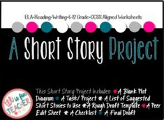 This project will allow students to tell a short story from another character's perspective. They can complete this project after the read a short story or created a short story of their own. This is a great way to get the students creative juices flowing :)This product comes complete with:A Plot Diagram A Task/ Project A List of Suggested Short Stories to Use A Rough Draft Template A Peer Edit Sheet A Checklist A Final Draft If you like this product, you would LOVE these products in my…