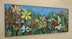 LARGE GARDEN MOSAIC wall art- made to order- patio decor mosaic wall art stained glass mosaics indoor or outdoor wall decor Mosaic Artwork, Mosaic Wall Art, Mosaic Glass, Glass Art, Stained Glass Patterns, Mosaic Patterns, Mosaic Garden Art, Mosaic Flowers, Mosaic Projects