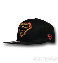 724f1df5335 Superman Flames Flat Bill Snapback Cap. Flat Bill HatsNew ...