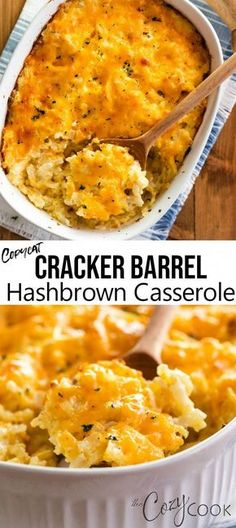 This Copycat Hashbrown Casserole tastes just like the Cracker Barrel version and is so easy to make. You can even make it ahead of time and can freeze leftovers! #hashbrowns #casserole #crackerbarrel #breakfast #brunch #copycat #comfortfood #casserolerecipes Easy Casserole Recipes, Casserole Dishes, Crockpot Recipes, Cooking Recipes, Easy Hash Brown Casserole, Casserole To Freeze, Cooking Chef, Cracker Barrel Hashbrown Casserole, Hashbrown Breakfast Casserole