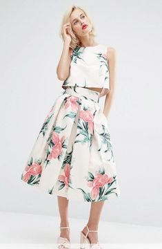 Bridesmaid trend - separates   floral skirt and crop top