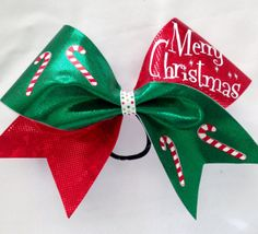 3 cheerleading cheer bow christmas candy cane red by aboutthebow 1400 cheerleading hair bows