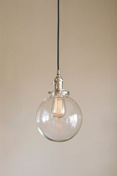 "pendant light fixture 8"" round clear glass globe **SALE** coupon code ""tenpercent"" for 10 percent off"