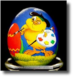 """""""Chicken Decorating Easter Eggs"""" Hand Painted Egg Art by #Margit #Jakab"""