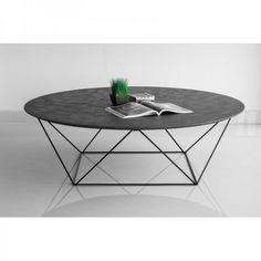 Table basse industrielle look géométrique plateau effet béton ciré
