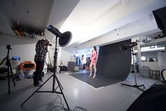 Studio lighting setup for fashion.