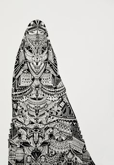 belledj:  Bedouin Niqab done with a Staedtler Pigment Liner