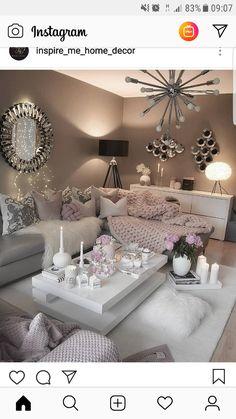 Cozy Living Room by Glam Living Room, Living Room Decor Cozy, Elegant Living Room, Interior Design Living Room, Living Room Designs, Decor Room, Romantic Living Room, Color Interior, Living Room Modern