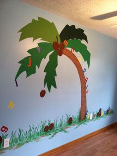 Chicka Chicka Boom Boom tree in the baby's room