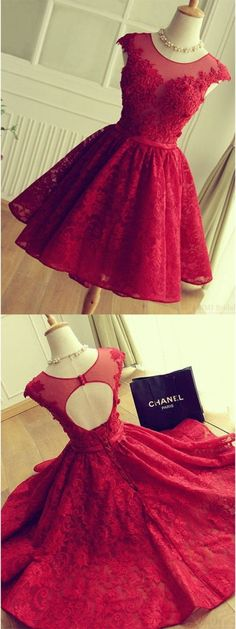 A-Line Crew Cap Sleeves Red Lace Homecoming Dress with Appliques M3521