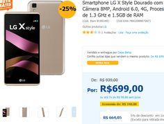 """Smartphone LG X Style 16GB, Tela de 5.0"""" Câmera 8MP Android 6.0 4G Processador Quad Core de 1.3 GHz e 1.5GB de RAM >"""