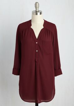 Pam Breeze-ly Tunic in Bordeaux. When you want a work wardrobe thats subtle, stylish, and a bit romantic, make this burgundy blouse your business! #red #modcloth