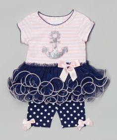 Another great find on #zulily! Pink & Navy Stripe Anchor Skirted Top & Polka Dot Pants - Infant #zulilyfinds