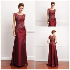 2013 Burgundy Jewel Sheath Floor length satin sleeves Applique Bead Lace Mother of the bride dress Long evening dress prom gowns plus size