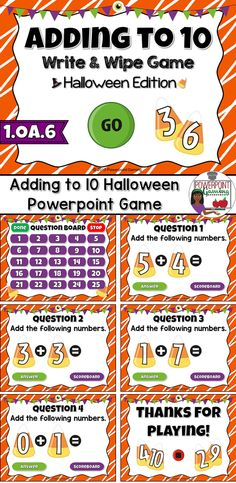 Engage students with this fun, interactive Halloween addition game. In this Write and Wipe powerpoint game, students practice adding numbers up to 10 in this Halloween themed game. Candy corn makes this game sweet with beautiful clip art.