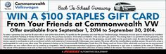 It's September and back to school month! This month you can win a $100 Staples Gift Card from your friends here at Commonwealth #VW! Offer Valid: Sept. 1 - 30.  Enter to win: http://www.commonwealthvw.com/back-to-school.aspx
