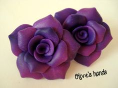 Polymer Clay Rose Earrings Polymer Clay Jewelry Fimo Jewelry Short Earrings Purple Earrings Paint with glitter nail polish ?