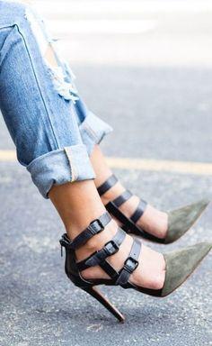 Olive strappy heels                                                                                                                                                     More #heelsshoes