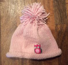 Adorable Pink Knit Hat with Owl Button by CarsonsInspirations on Etsy