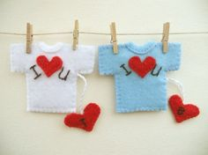 Personalized felt brooch Valentines day T shirt brooch with hearts Gift for him and her Kids jewelry