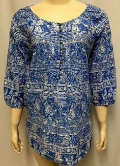 JMS Top Shirt 2X 18W/20W Butterfly Tunic Blue Floral Plus Women's Just My Size #JustMySize #Tunic #Casual
