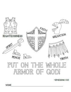 Look to Him and be Radiant: Armor of God coloring page