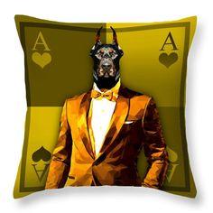Royal Doberman Throw Pillow Custom Pillow Covers by Filip Aleksandrov