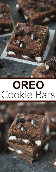 Thick, chewy, amazing Oreo cookie bars! Chocolate Oreo cookie crust on the outsides with chopped Oreos and white chocolate chips sandwiched in the middle. | Tastes Better From Scratch