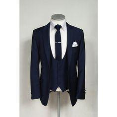 Slim fit royal blue wedding lounge suit with scoop waistcoat