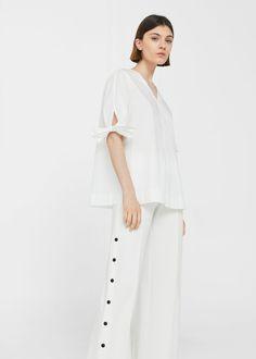 Blusa algodón lazos | MANGO