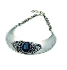 Burnished silver collar featuring a gorgeous Montana Swarovski Crystal in the centre surrounded by fine appliqué detail Designer Jewellery, Jewelry Design, Luxury Jewelry, Montana, Turquoise Bracelet, Swarovski Crystals, Detail, Usa, Bracelets