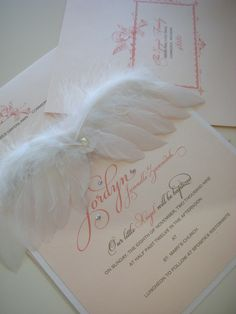 """Angel Baby"" Baby Announcement, christening or shower invitation. Soft wings and crystal or pearl accent. xo Embellishments Invitations"