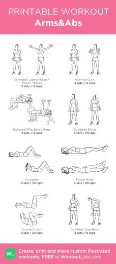 Arms&Abs –my custom workout created at WorkoutLabs.com • Click through to download as printable PDF! #customworkout