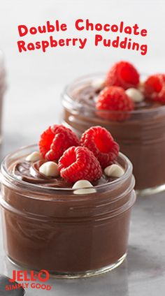 Why is it double chocolate? Because we take our rich JELL-O SIMPLY GOOD Chocolate pudding (that's made with real cocoa) and top it with creamy white chocolate morsels. This double chocolaty satisfaction is then kissed with fresh raspberries for a ric Low Carb Desserts, Just Desserts, Delicious Desserts, Dessert Recipes, Yummy Food, Pudding Recipes, Fruit Dessert, Jello Recipes, Cold Desserts