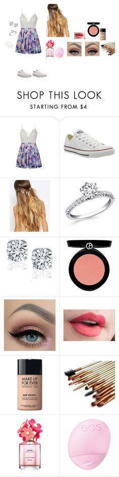 """Untitled #66"" by maggiewaggie ❤ liked on Polyvore featuring Ally Fashion, Converse, Johnny Loves Rosie, Armani Beauty, MAKE UP FOR EVER, Marc Jacobs, Eos and Deux Lux"