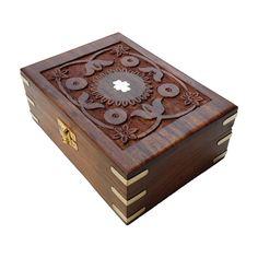 Rajasthani Hand Carved Brass Engraved Rectangular Rosewood Jewelry Box #Asian #RoyalKraft