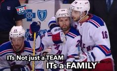 It's not just a team but a Family!  Rangers win game #5 round #2 against Penguins 05/09/2014.  Martin St.Louis played this game for his Mom who passed away a day earlier.  It's how she would have wanted it. RIP Mrs. St. Louis. KK