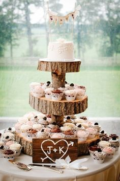 Rustic Wedding Cupcakes and Tree Stump Topper / http://www.deerpearlflowers.com/perfect-rustic-wedding-ideas/2/