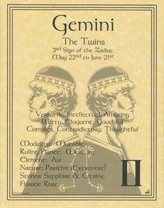 GEMINI ZODIAC POSTER  Wicca Pagan Witch Witchcraft BOOK OF SHADOWS Astrology picclick.com