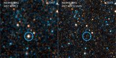 Foto dari teleskop Hubble yang menunjukkan hilangnya bintang N6946-BH1 dari galaksi NGC 6946. Kredit :NASA, ESA, and C. Kochanek (OSU)