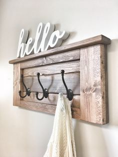 Wooden wall Stairways - Large Rustic Wooden Entryway Coat Rack Hooks, Wall Home Decor, Wood Furniture, Floating Wood Shelf Storage, Mudroom Organization House Gift. Rustic Wooden Shelves, Wooden Wall Hooks, Wooden Rack, Wooden Decor, Wood Shelves, Wall Shelf With Hooks, Wall Wood, Diy Home Decor Rustic, Unique Home Decor